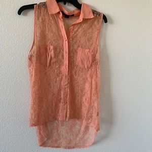 Forever 21 peach rosy lace blouse